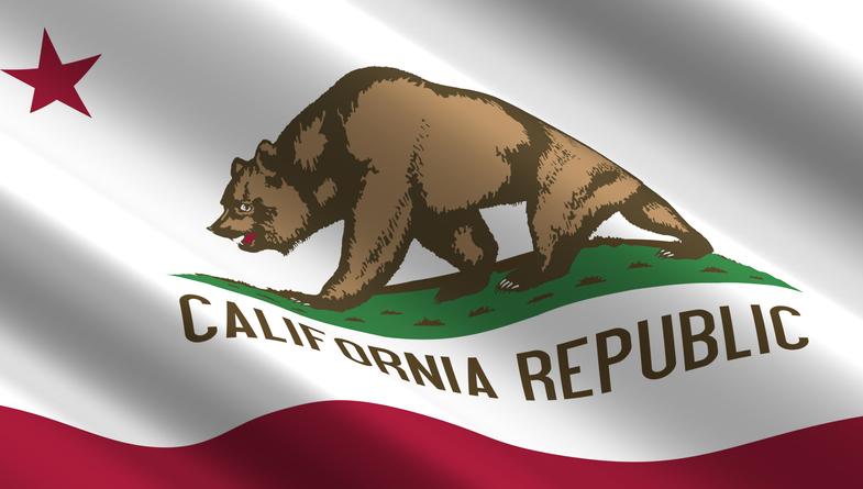 Waving flag of California state.